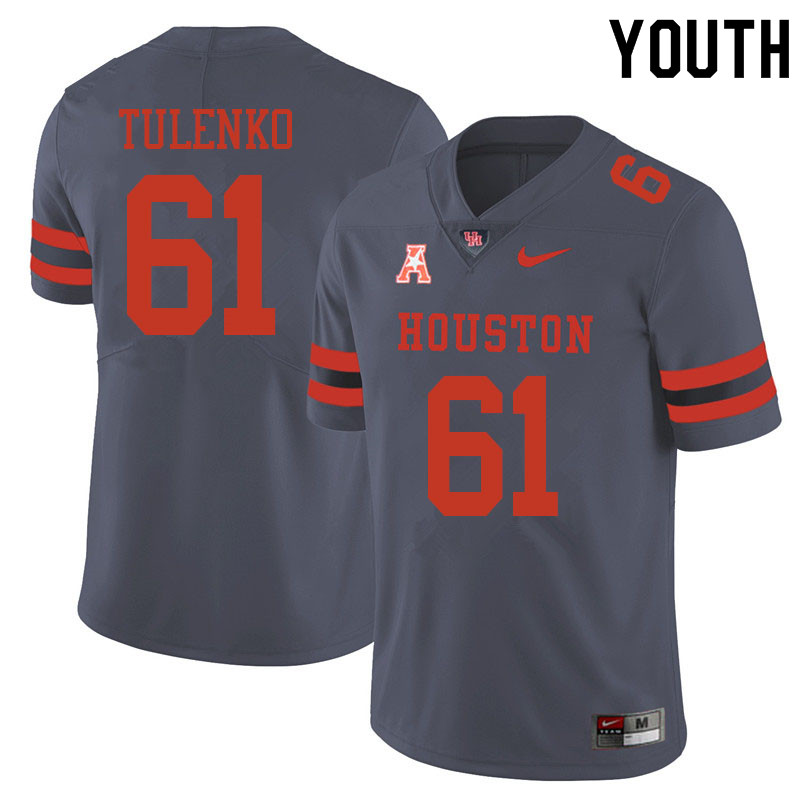 Youth #61 Michael Tulenko Houston Cougars College Football Jerseys Sale-Gray